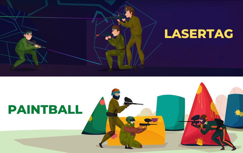 diferente laser tag paintball